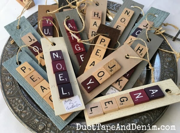 Scrabble Letter Holiday Word Ornaments