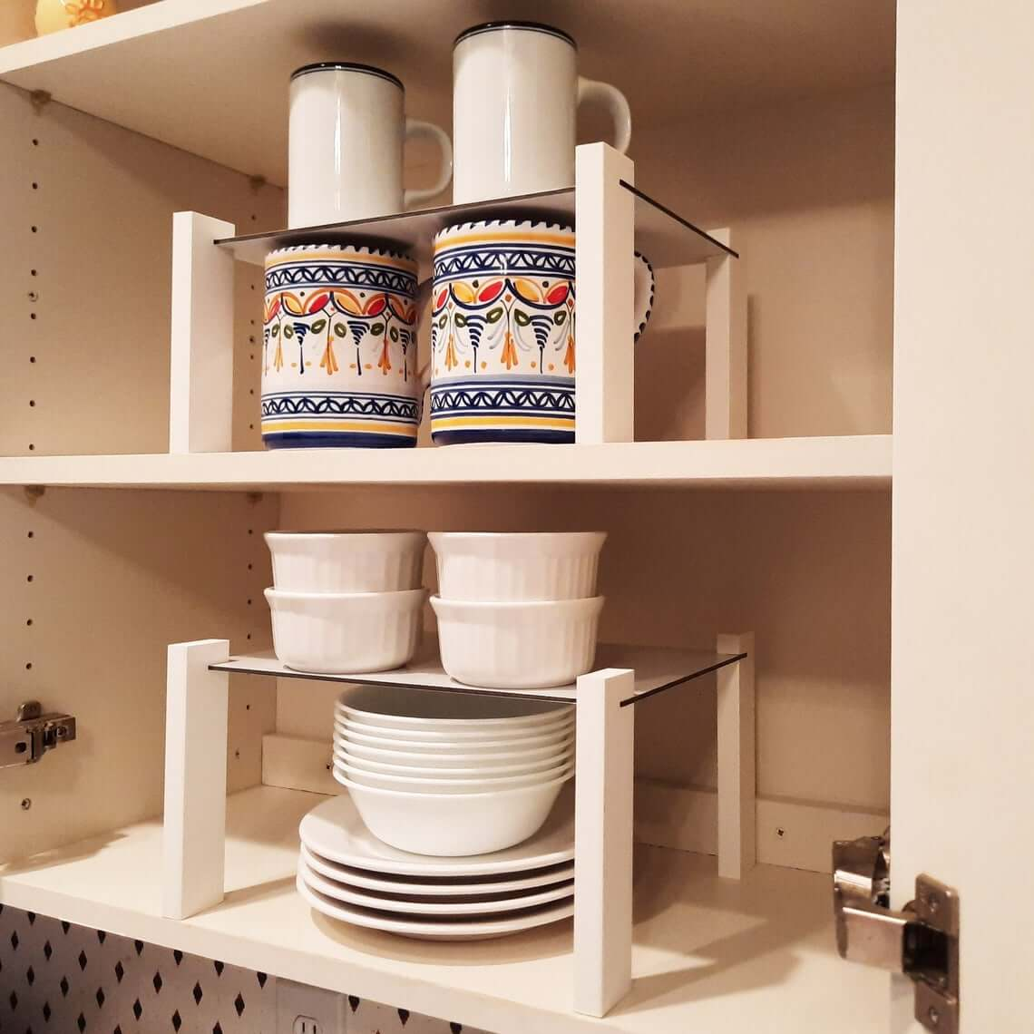 Raised Cabinet Storage Shelf Organizer