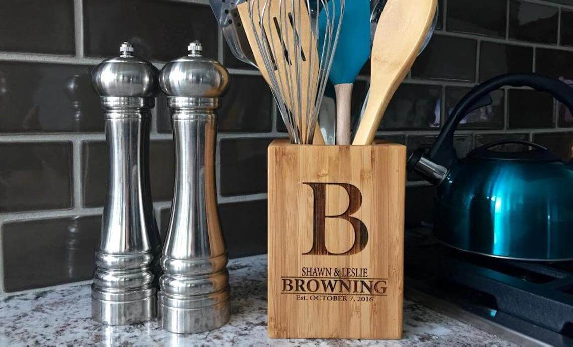 Personalized Bamboo Butcher Block Large Utensil Keeper