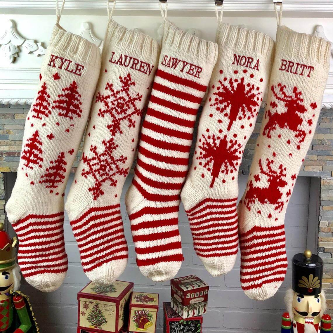 Heirloom Red and White Wool Stockings