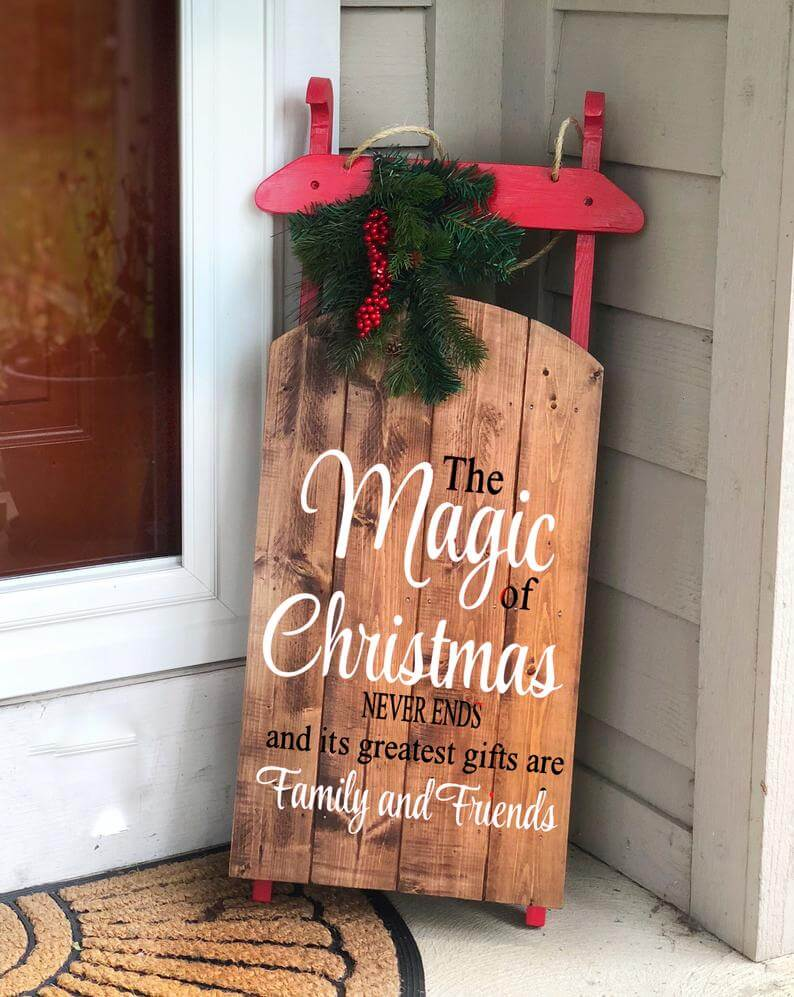 Oversized Personalized Decorated Wooden Sled