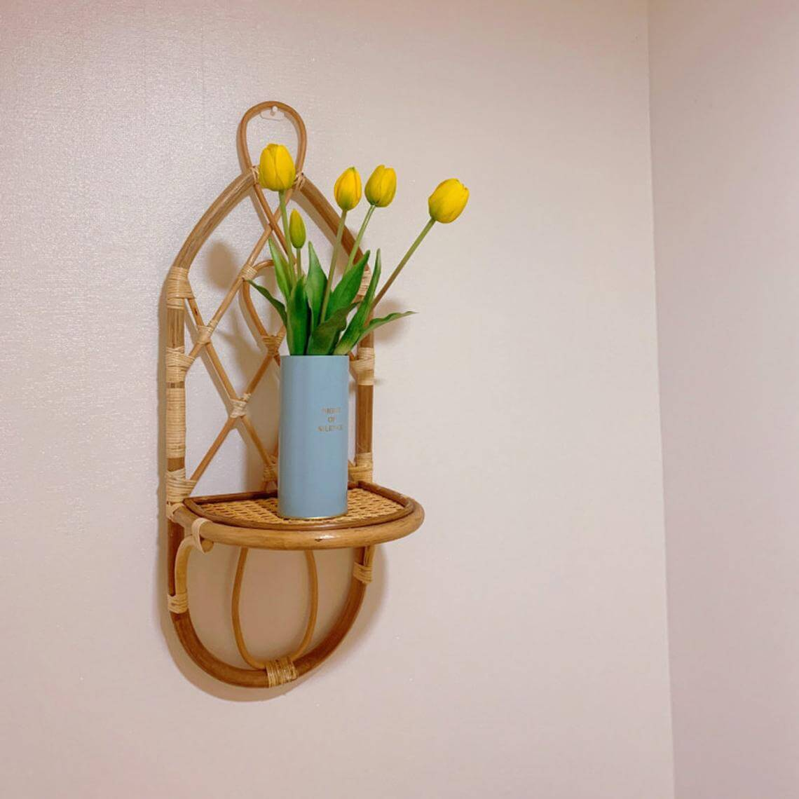 Woven Bamboo Wall Sconce Shelf
