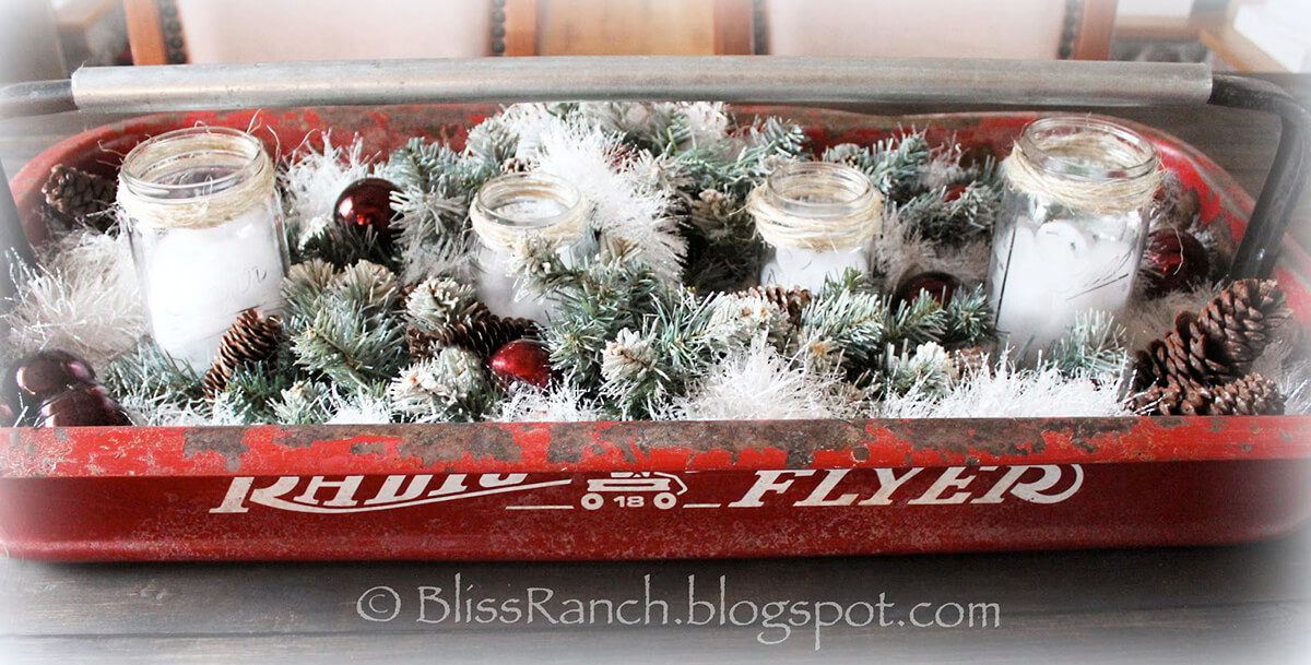 Antique Meets Modern Christmas Centerpiece