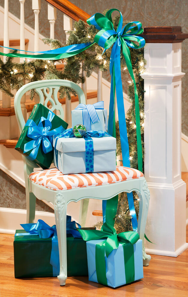 Whimsical Blue and Green Entryway Display
