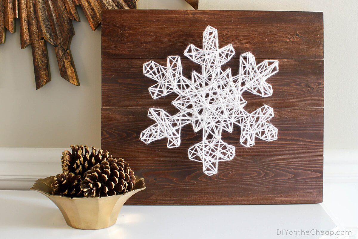 Spectacular String Art Snowflake on Wood Sign