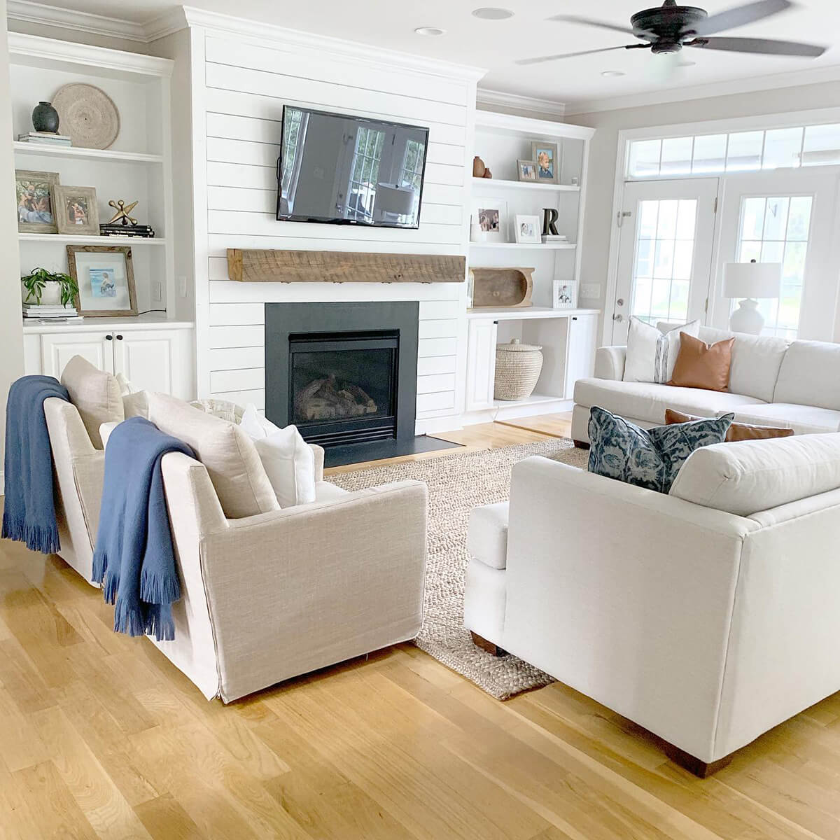 Sweet and Simple Shiplap Rustic Modern Fireplace