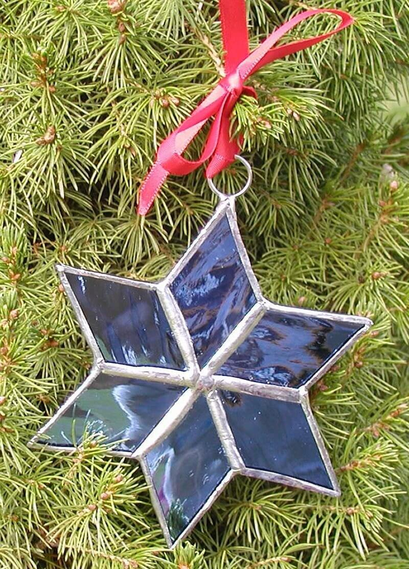 Stained Glass Blue Christmas Star