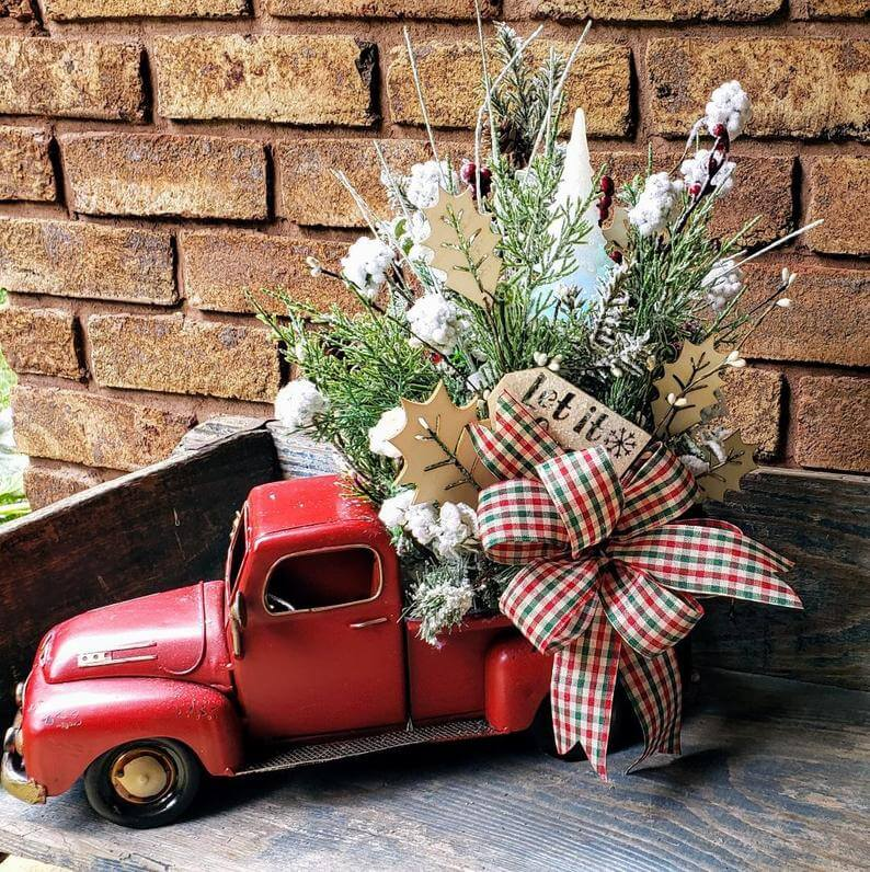 Red Christmas Truck Floral Centerpiece Design