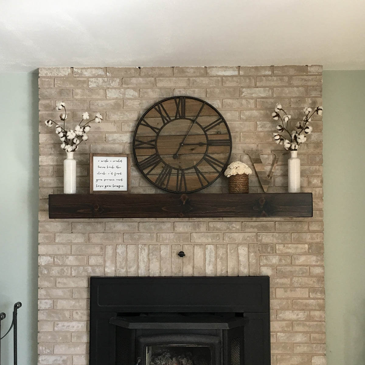 Floating Mantel for a Modern Rustic Fireplace