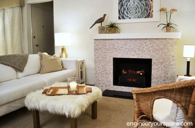 Beige and Gray Pebbled Neutral Tiled Fireplace