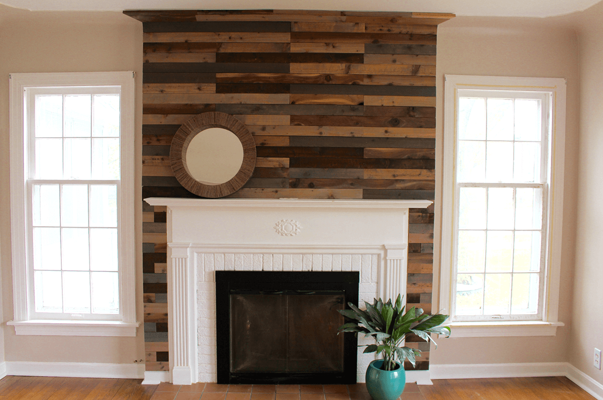 Wonderful Wall of Wood Fireplace Design