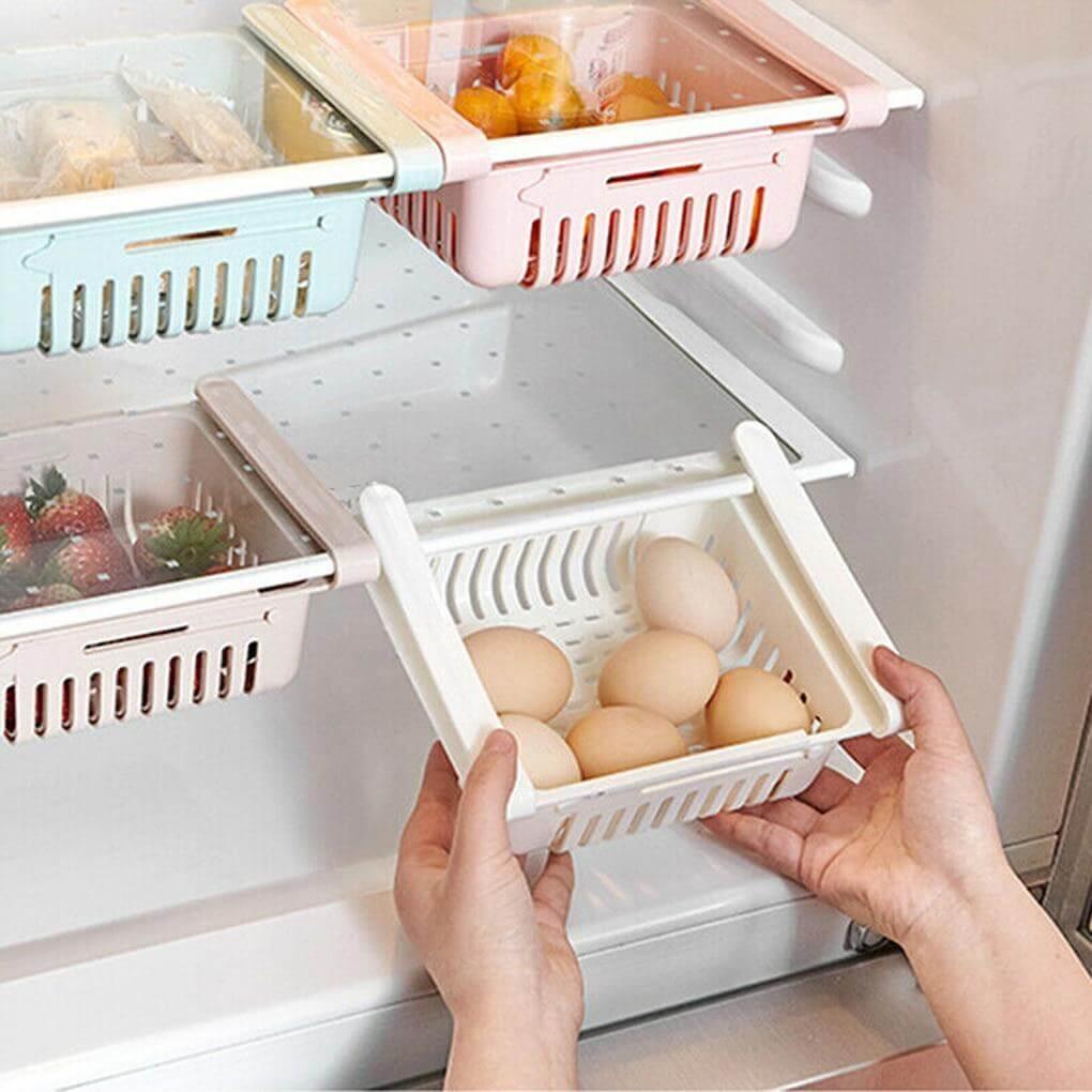Adjustable Refrigerator Storage Drawer Rack