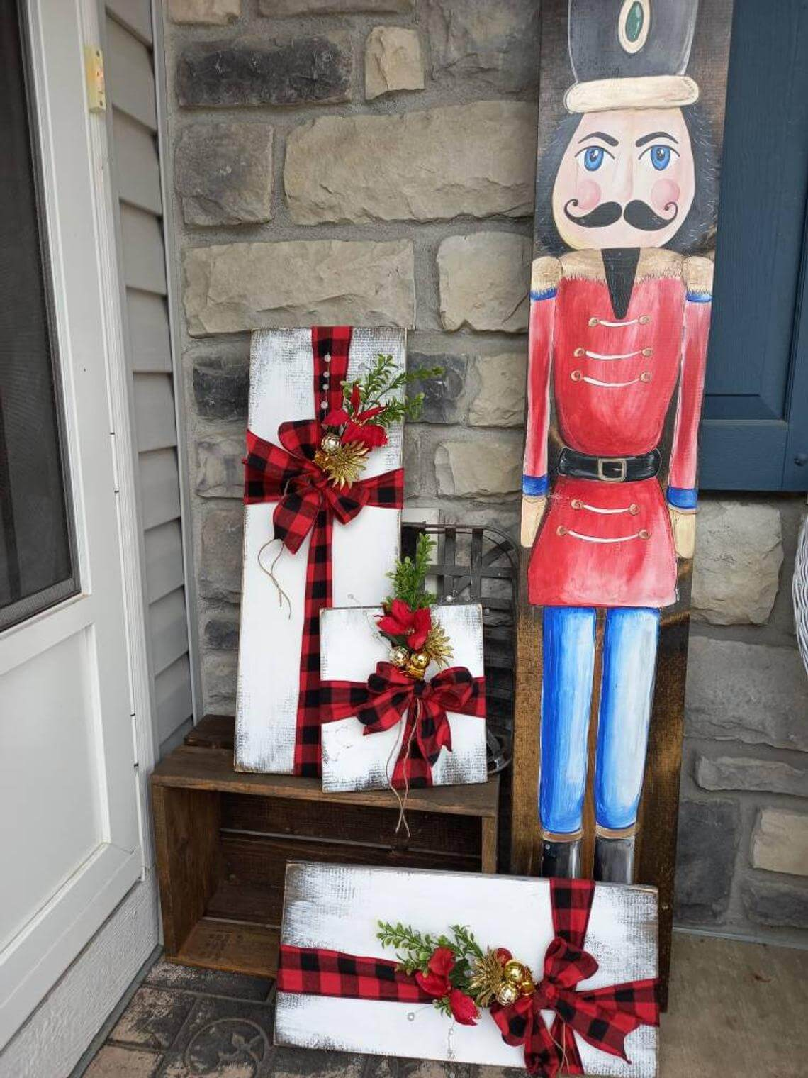 Distressed Wooden Faux Gift Boxes