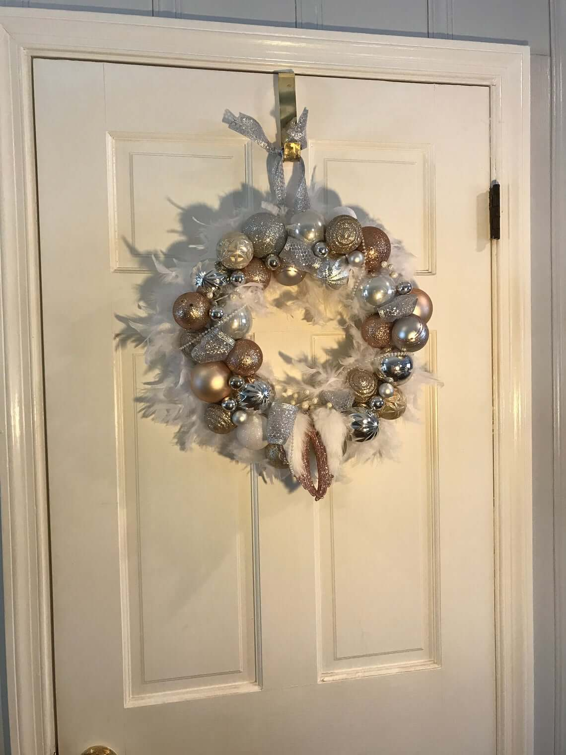 Feathered Angel Wings Metallic and White Wreath