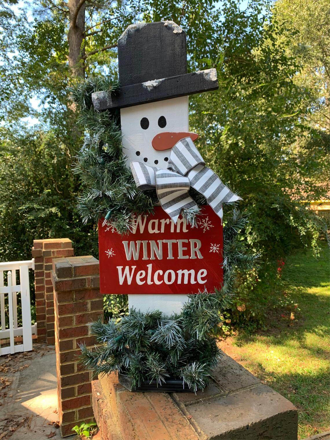 """""""Warm Winter Welcome"""" Snowman Sign"""