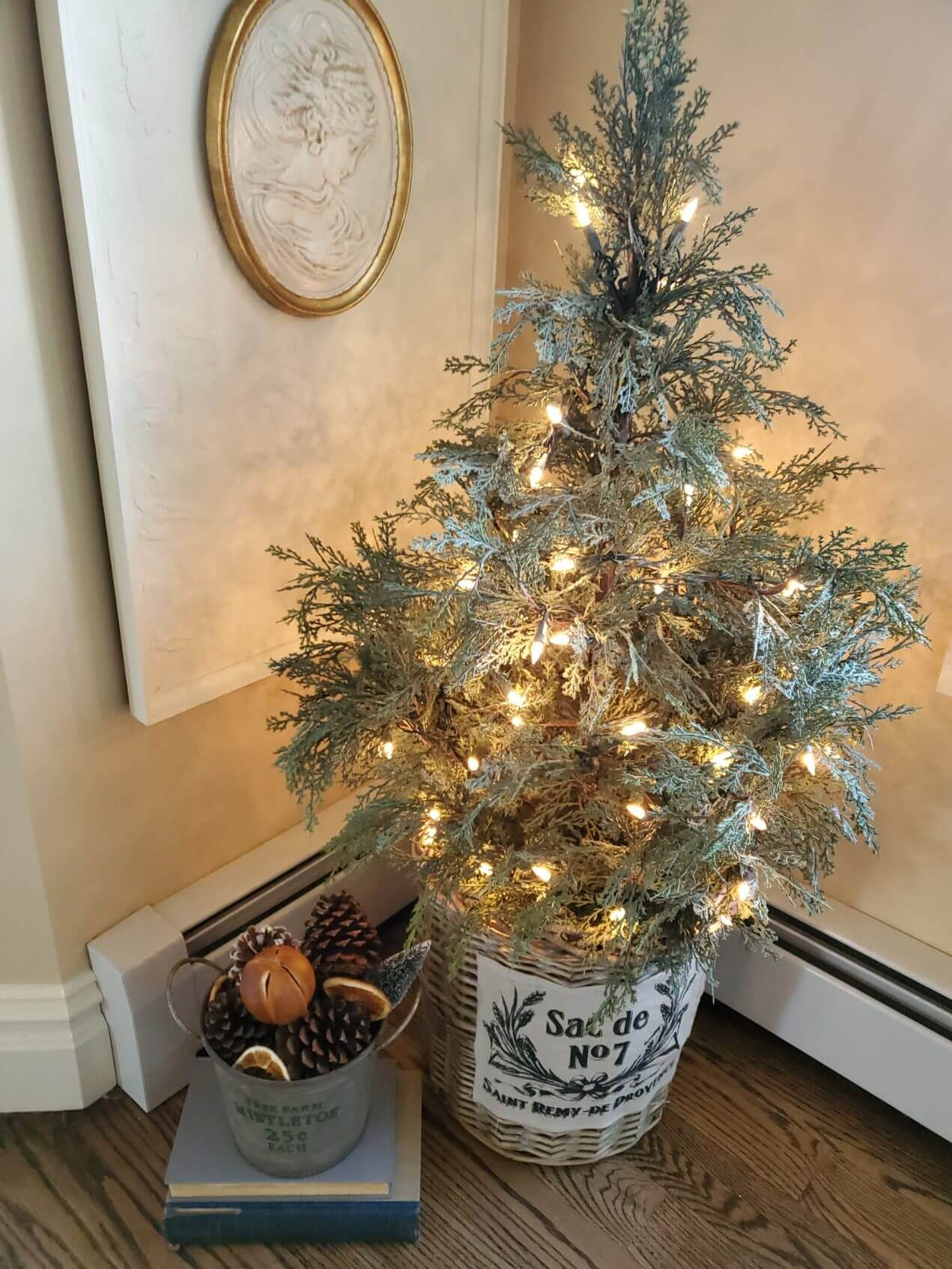 Rustic Small Christmas Tree in a Basket