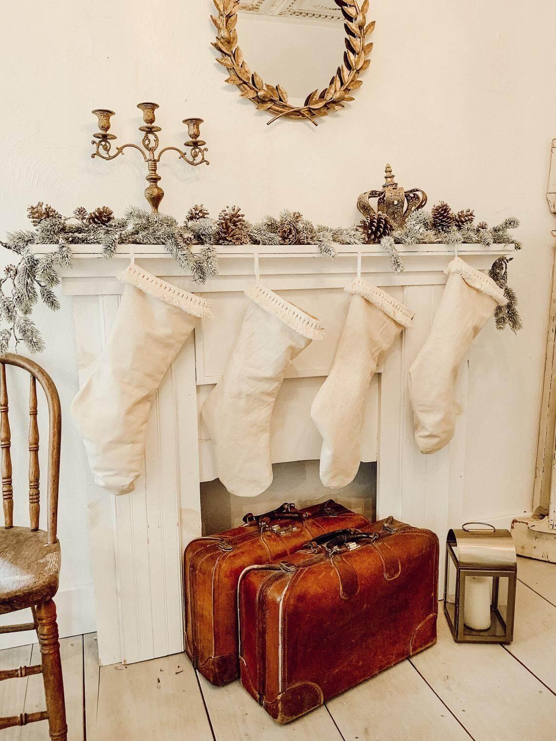 Oversize Linen Stockings with Fringe