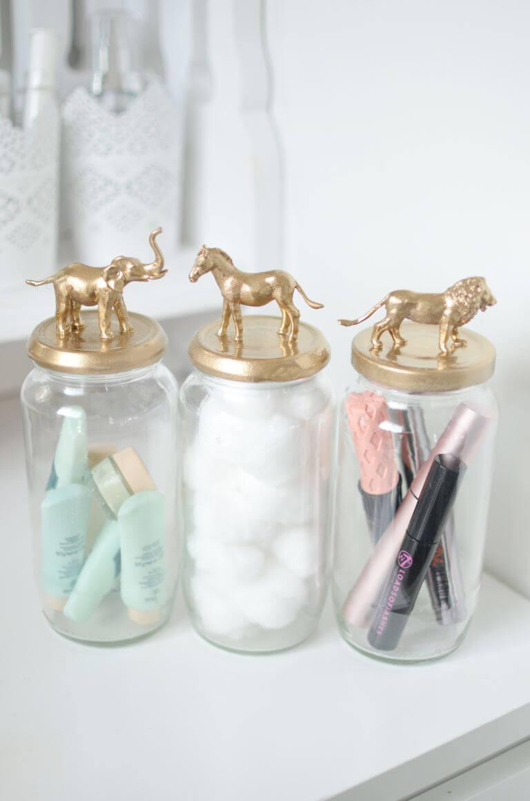 Gold Animal Vanity Storage Jars