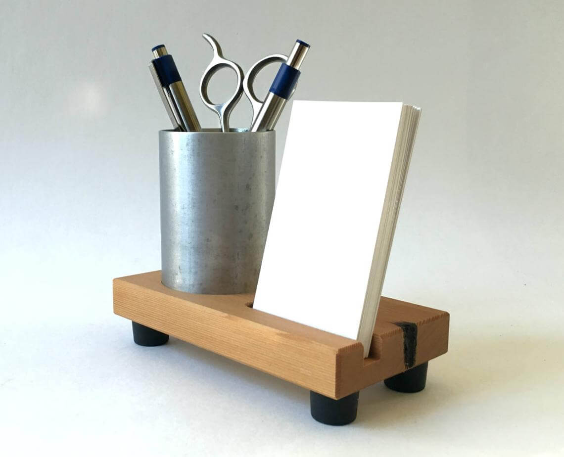 Industrial Wood and Metal Business Card Holder