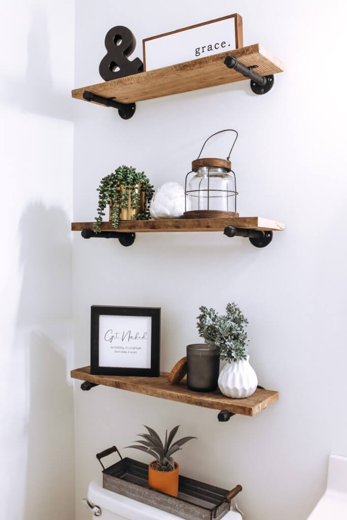 Reclaimed Wood Shelves for Farmhouse Style Bathroom