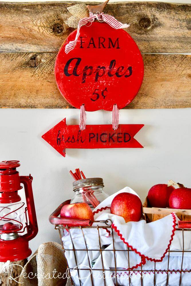 Fresh Picked Apples Red and Wood Sign