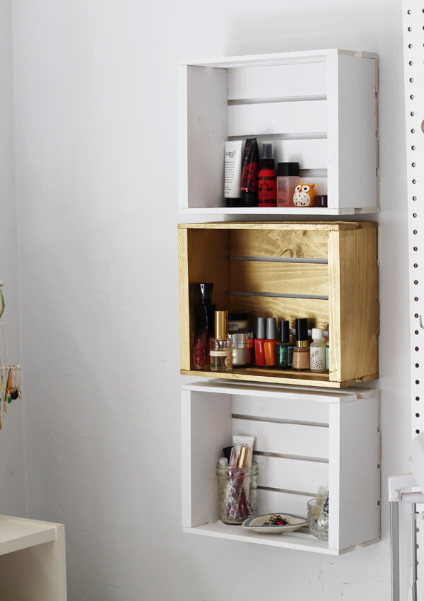 Painted Wooden Crate Wall Storage
