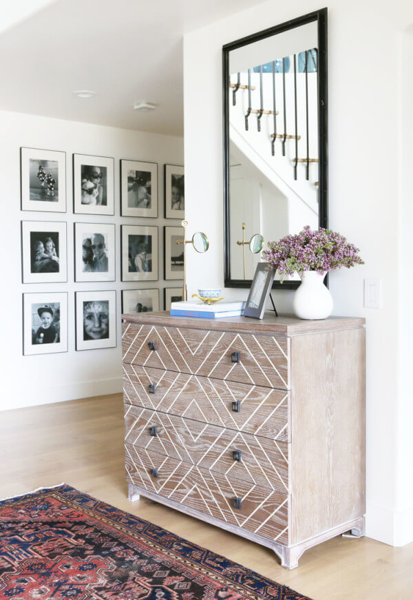 Geometric Patterned Natural Dresser Painting