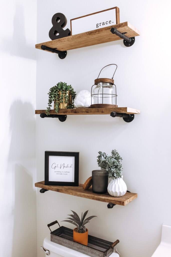 Reclaimed Wood Shelves for Farmhouse Style Bathroom