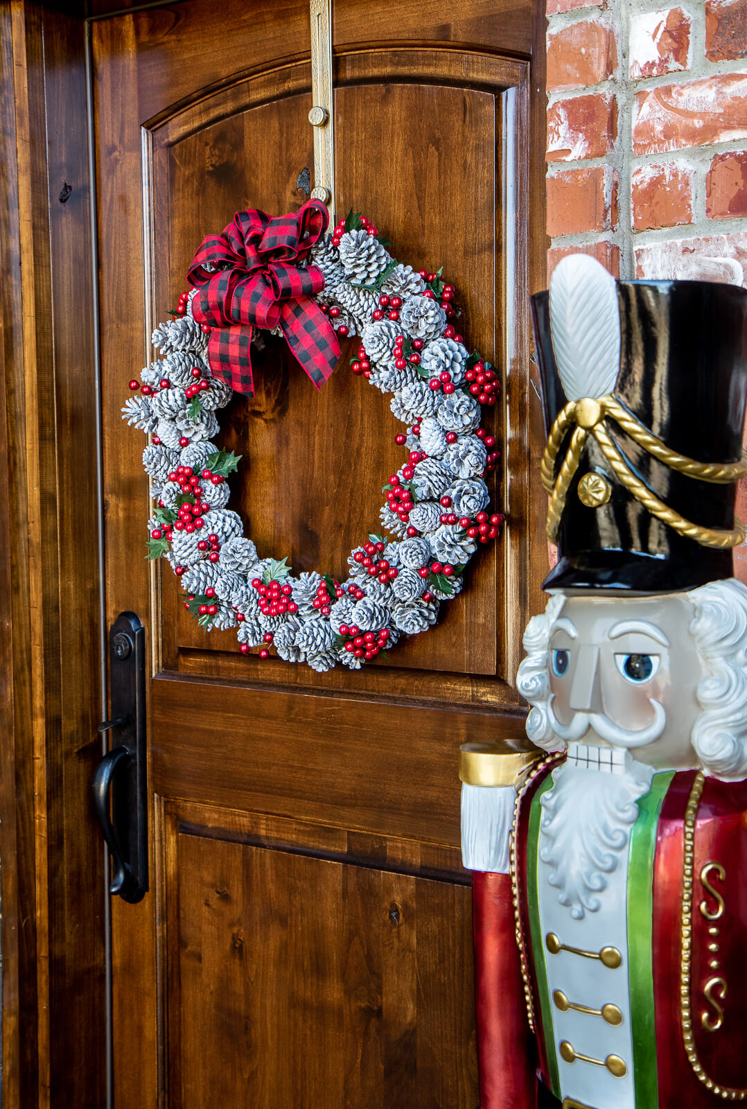 Crimson Berry & Snowy Pine Cone Christmas Wreath