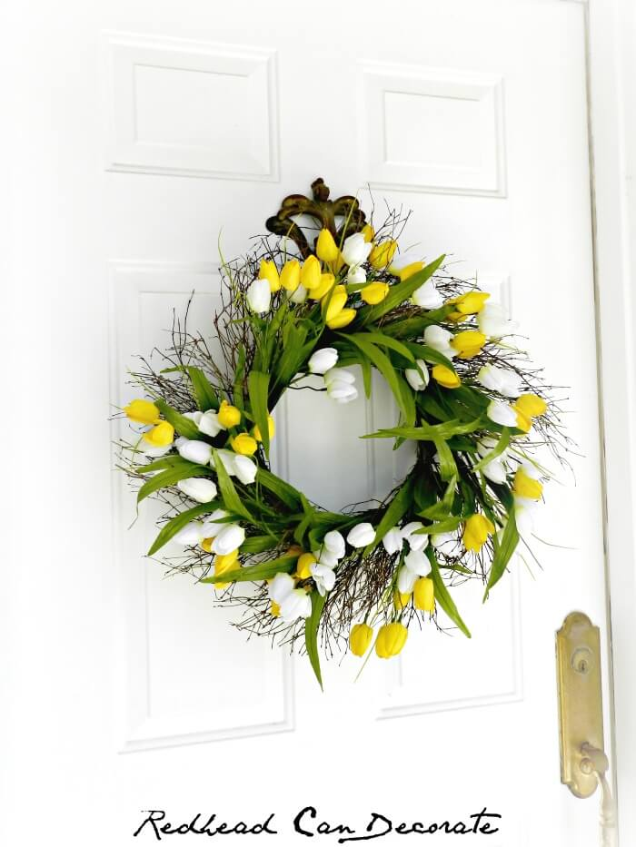Spring Tulip and Branch Wreath