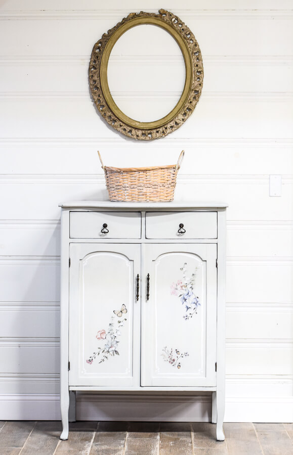 Refreshing Floral Patterned Painted Cabinet Makeover