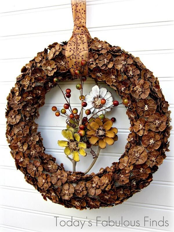Unique Pine Cone Flower Fall Wreath