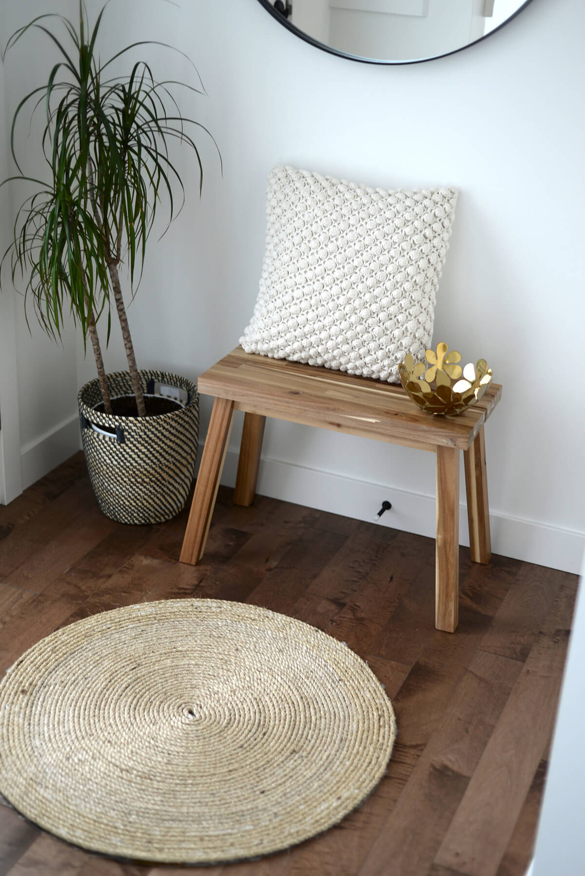 Small Entryway Wood Stool and Jute Rug