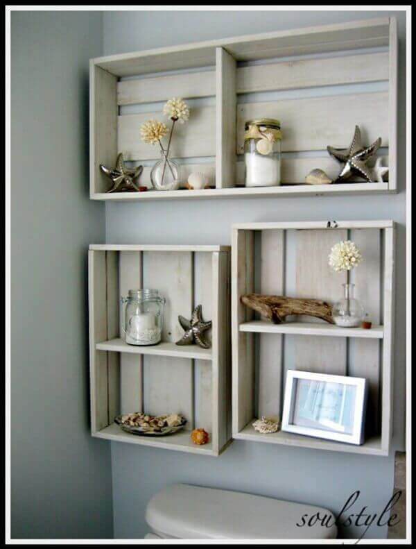 Simple DIY Wooden Crate Style Shelving Units