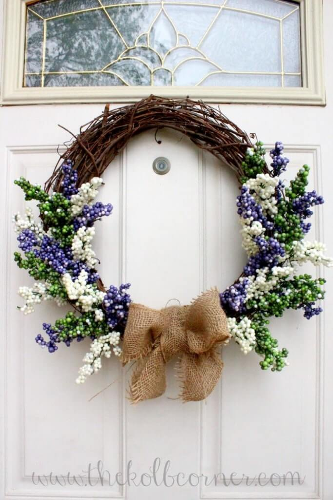 Spring Berry and Burlap Wreath