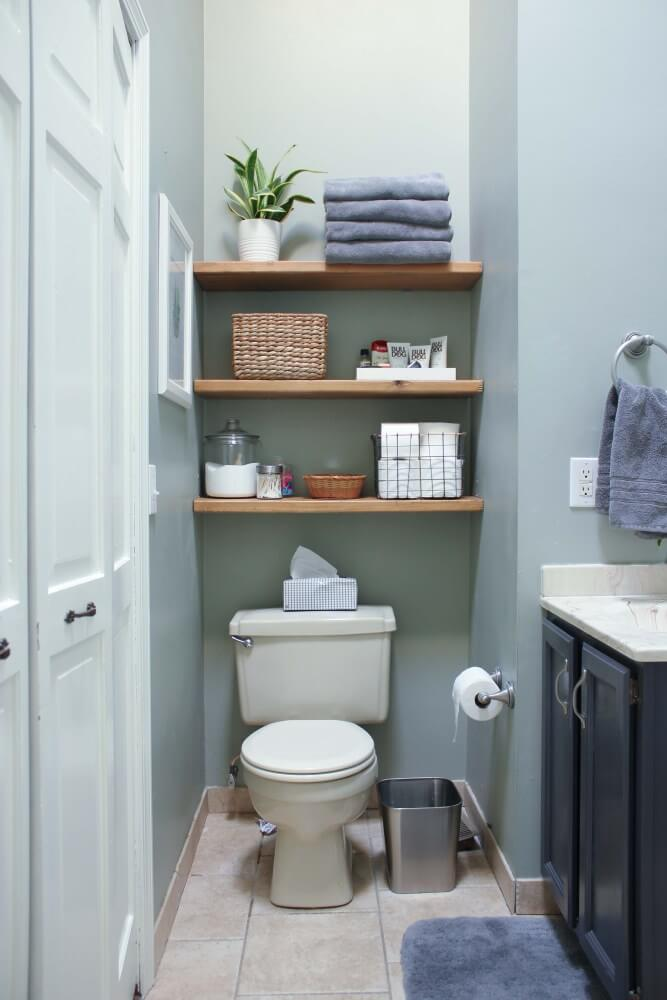 DIY Over the Toilet Floating Shelves