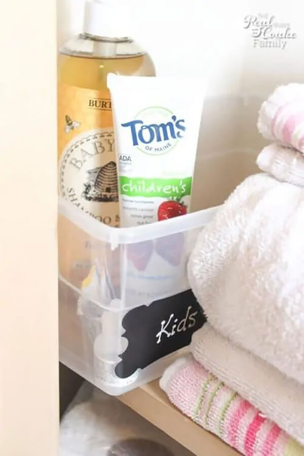 Labeled Plastic Bins for Toiletries