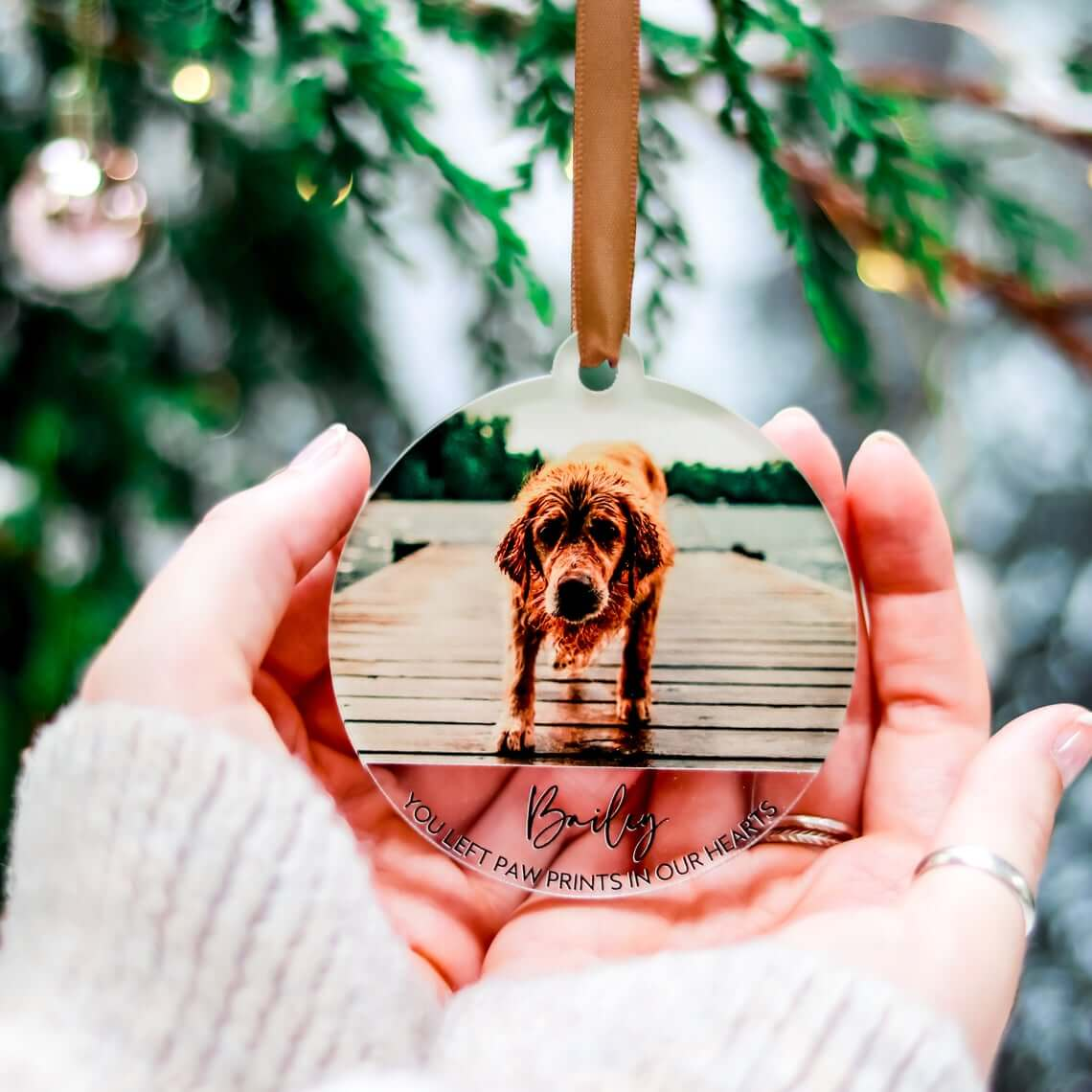 Paw Prints in Our Hearts Christmas Tree Ornament