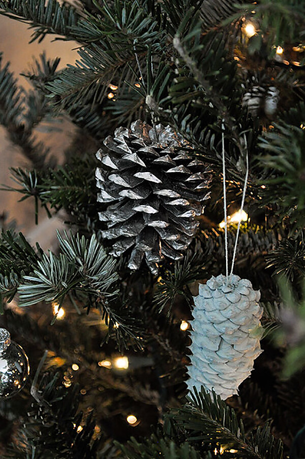 Cool Frosted Nickle Pinecone Decorations