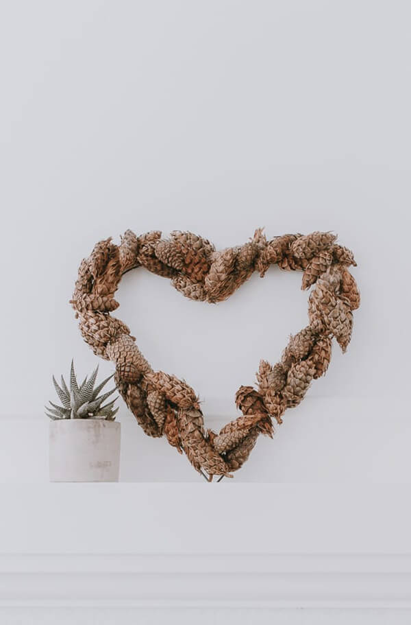 Heart-Shaped Natural Pine Cone Wreath
