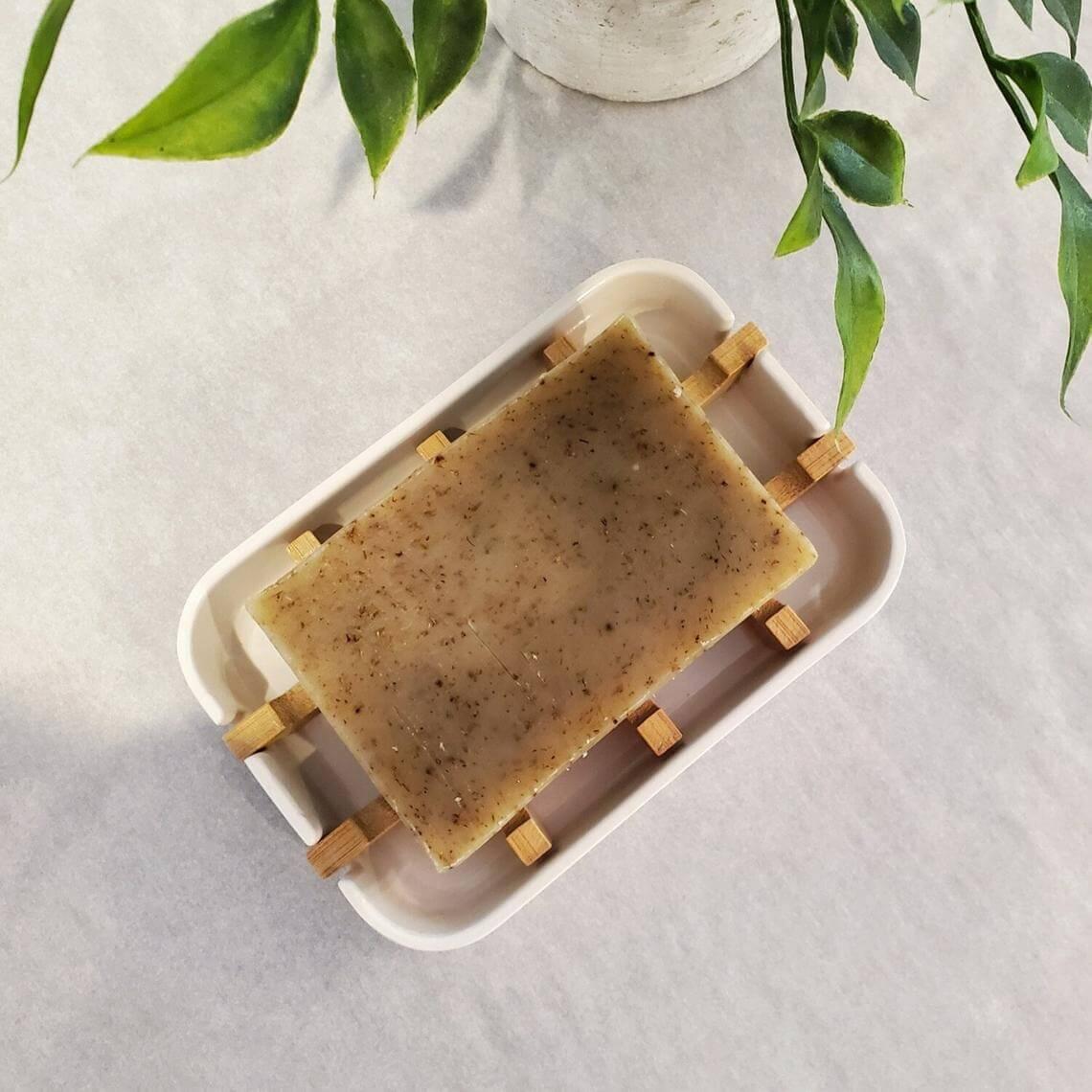 Ceramic and Bamboo Soap Dish Drainer