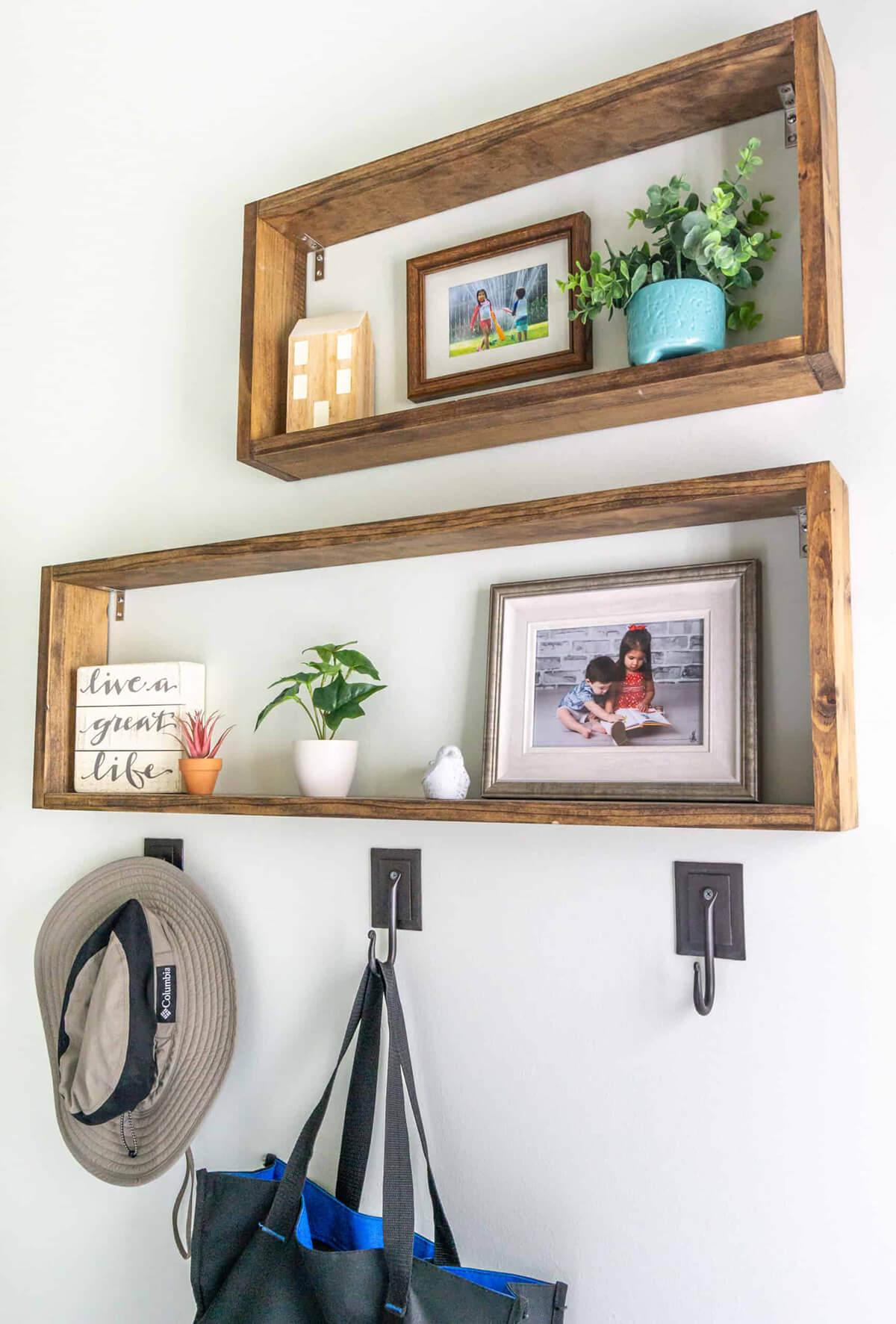 Wooden Framed Out Rectangular Box Shelf