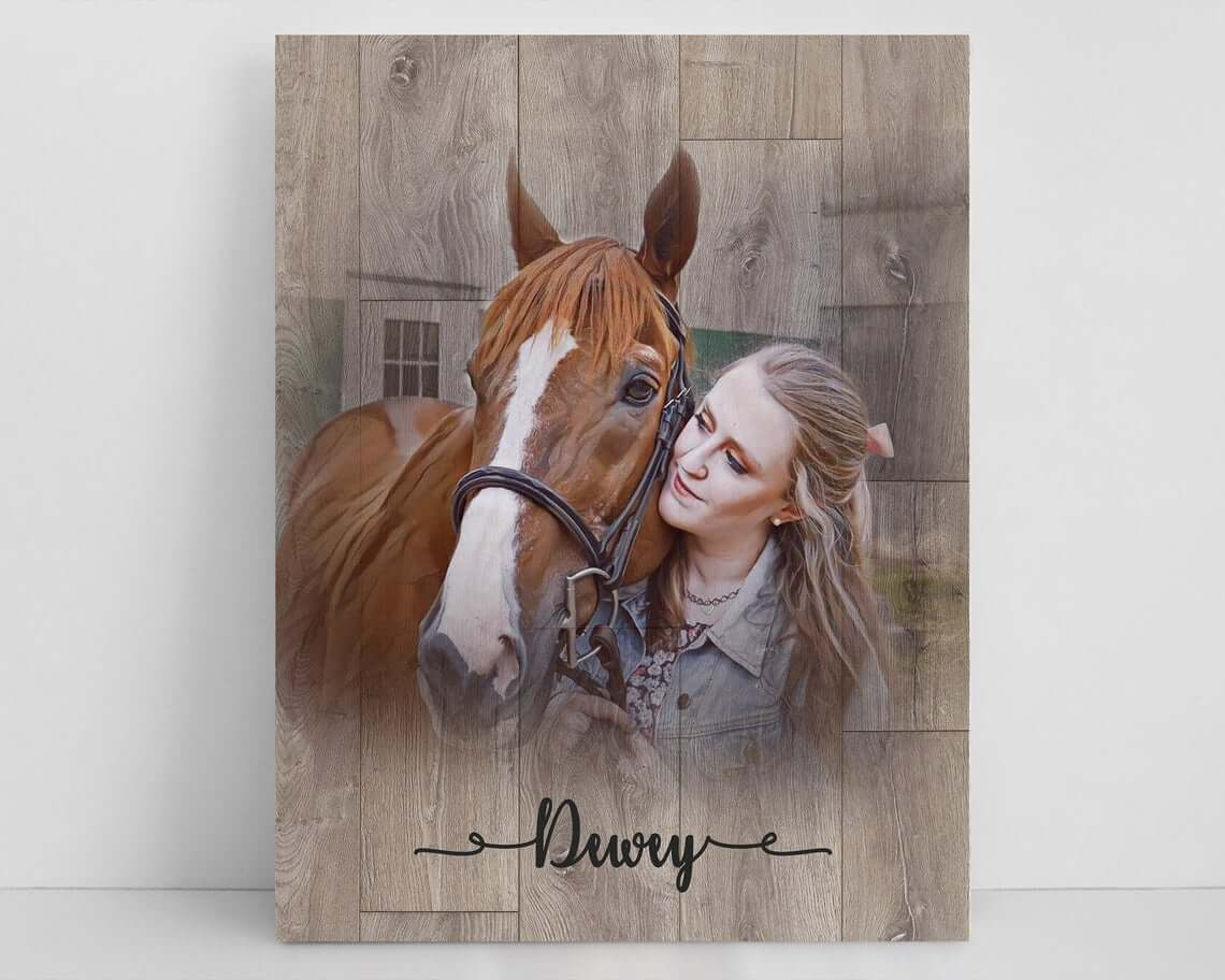 Elegant Wood Texture Wrapped Canvas Portrait
