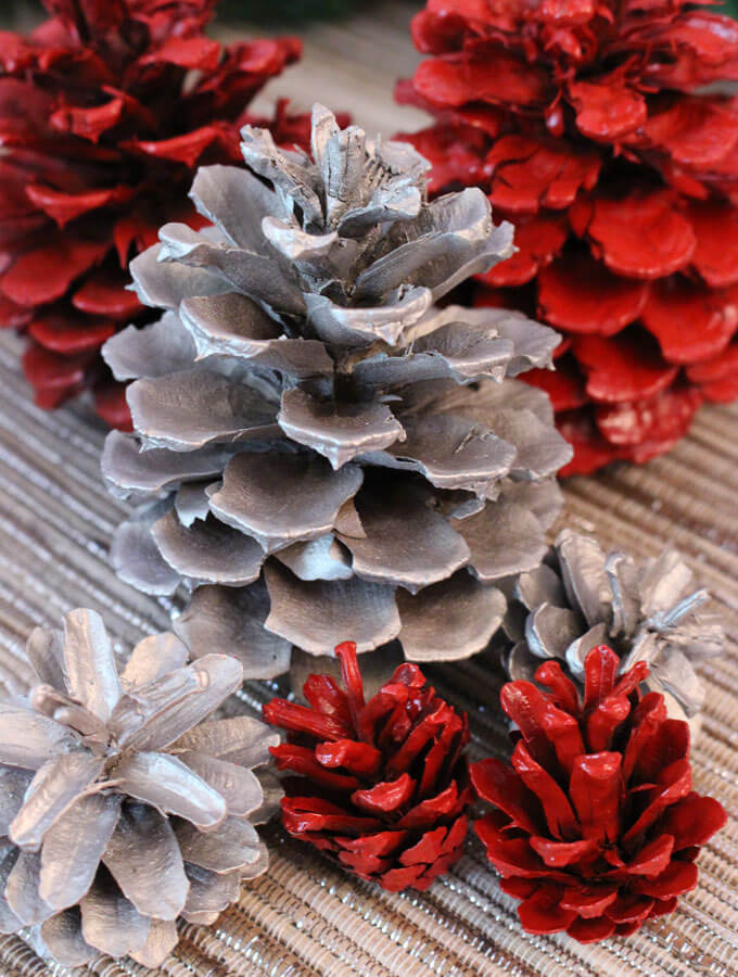 Easy DIY Painted pinecone Ornaments