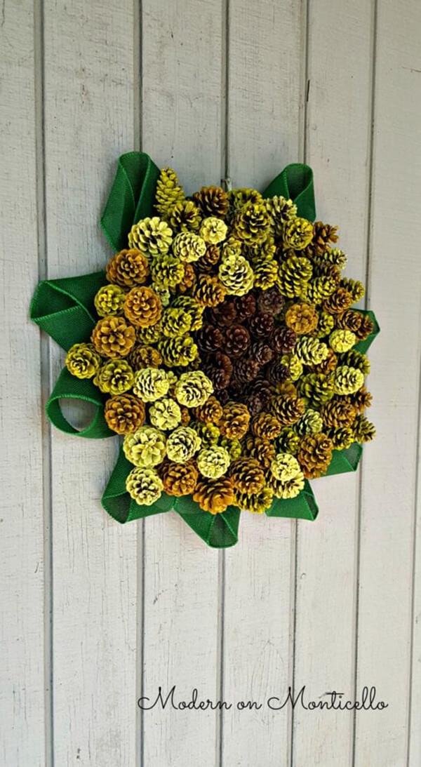 Unique Sunflower Painted Pine Cone Wreath