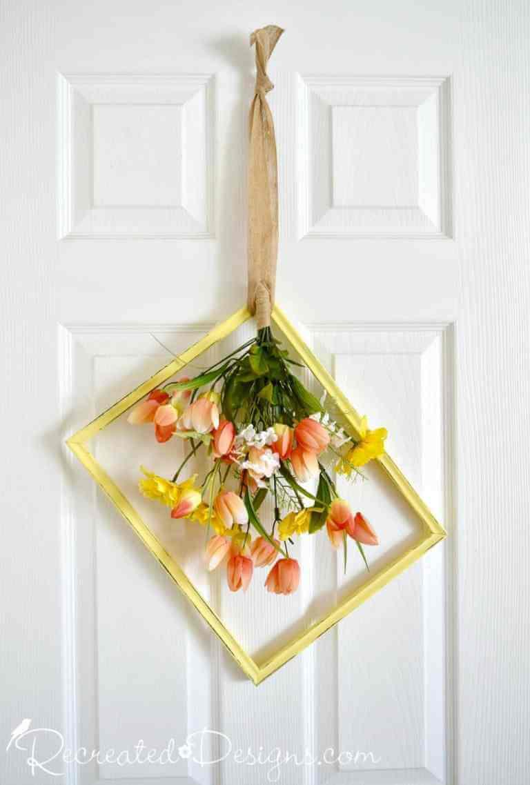 DIY Repurposed Frame with Spring Flowers