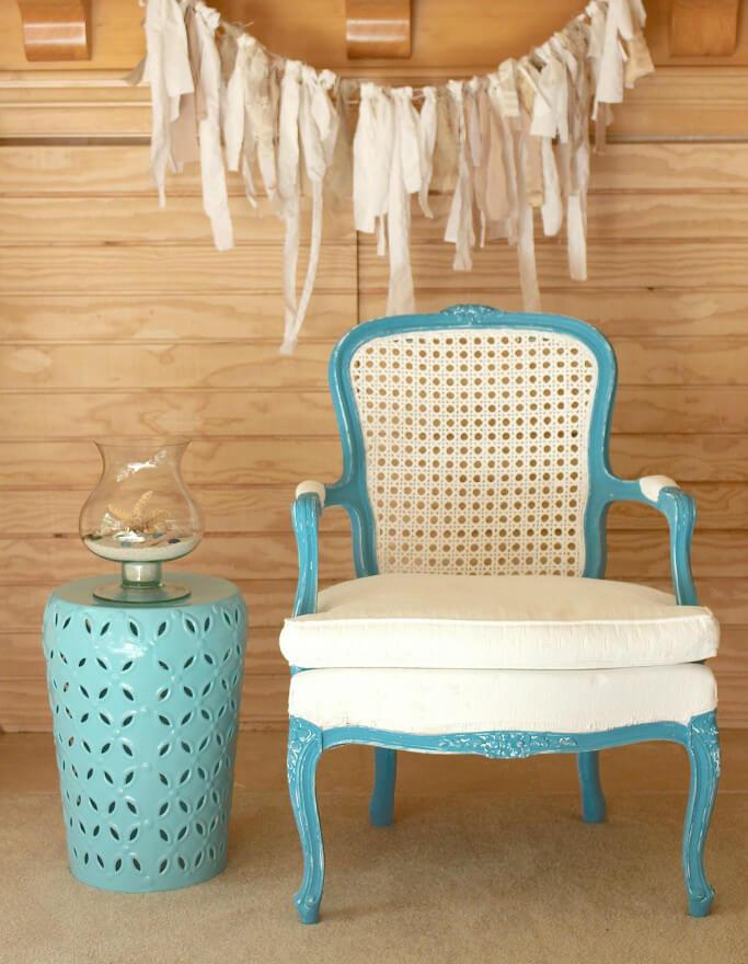 Bright Blue and White Beach Chair