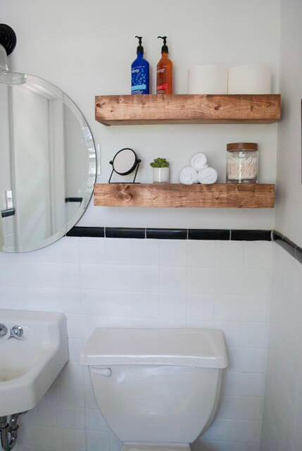 Rustic Floating Shelves for Extra Bathroom Storage