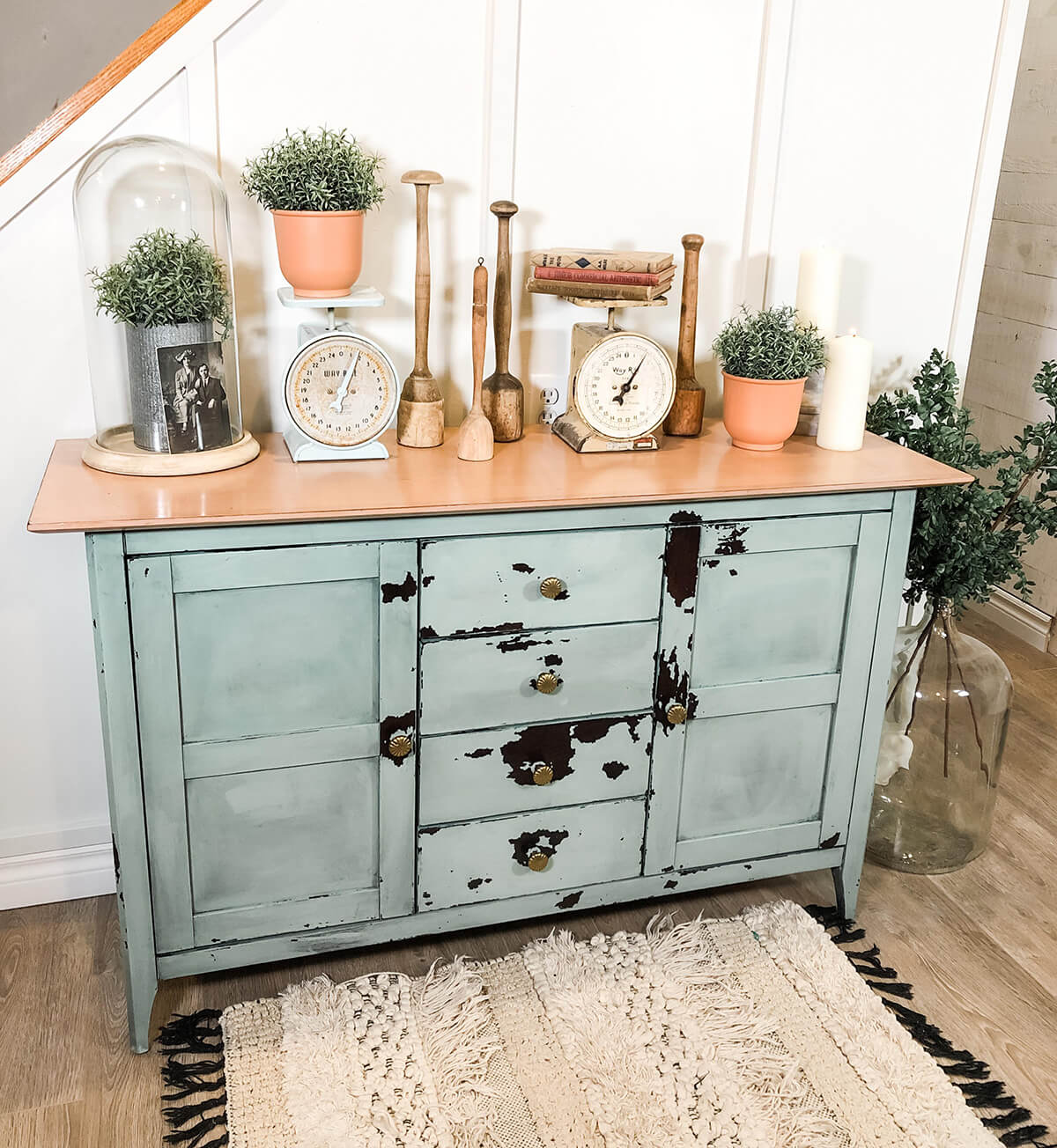 Vintage Feel and Rustic Look Mint Credenza