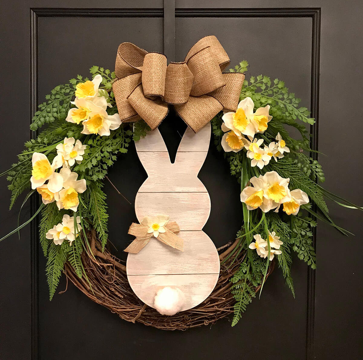 Wood Bunny with Daffodils and Bow Vine Wreath